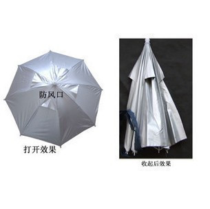 Silvery white folding sunscreen umbrella hat fishing cap diameter 65cm