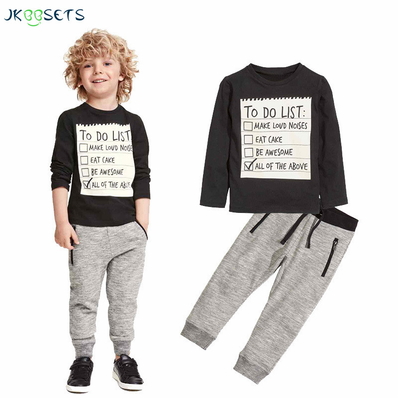 JKBBSETS Baby boy clothes 2017 New Winter and Autumn Dark Grey long sleeve t-shirt + casual long pants 2pcs suit kids clothes прогулочная коляска cool baby kdd 6699gb t fuchsia light grey
