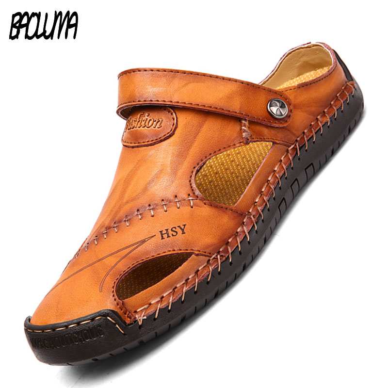 New Classic Leather Men Soft Sandals Shoes Summer Leisure Beach Roman Men Sandals High Quality Sandals Slippers Bohemia Big Size
