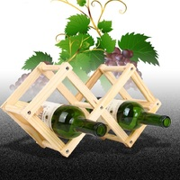 2016New Style Wood Color Folding Solid Fashion Creative Gift Art Make Taste 3 Bottled Red Wine Bottle Shelf Holder Rack Vino