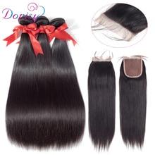 Brazil egyenes hajcsomók bezárása 100% emberi haj 3 csomó zárral 4x4 csipke bezárás nem remy természetes szín