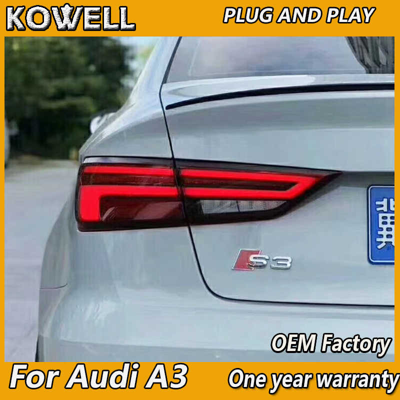KOWELL Car Styling for AUDI A3 Tail Lights 2013-2019 Audi a3 LED Tail Light  LED Rear Lamp with Dynamic turn signal