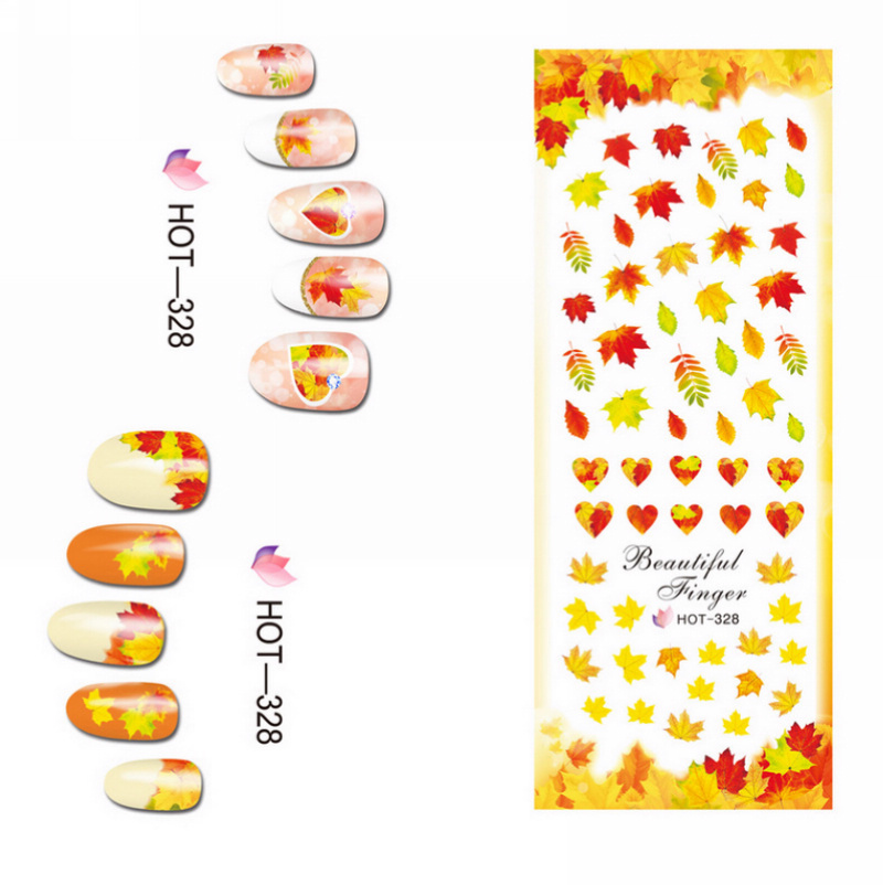 Image 2 - 3 PACKS / LOT GOLD AUTUMN MAPLE LEAF NAIL CROSS TATTOOS STICKER WATER DECAL NAIL ART HOT328 330-in Stickers & Decals from Beauty & Health