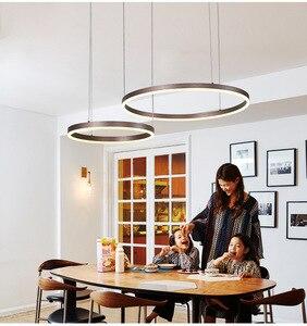 Image 2 - LukLoy Post Modern Rings Loft Chandelier Hotel Suspension Lamp Light Gold Bronze Living Room O Shape Ring Lamp