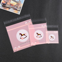 500PCS Pink Trojans Handmade Cookie Bags Cellophane Plastic Biscuit Bags Wedding Favor Bags Candy Packing OPP Food Grade