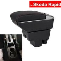 For Skoda Rapid Armrest Car Center Centre Console Storage Central Box Armrest Arm Rest Rotatable Auto Armrests with USB