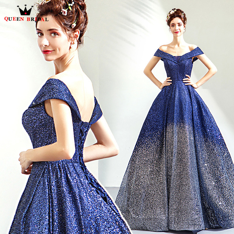 Navy Blue Ball Gown Cap Sleeve Sequin Tulle Beaded Luxury Evening Dresses 2018 New Fashion Evening