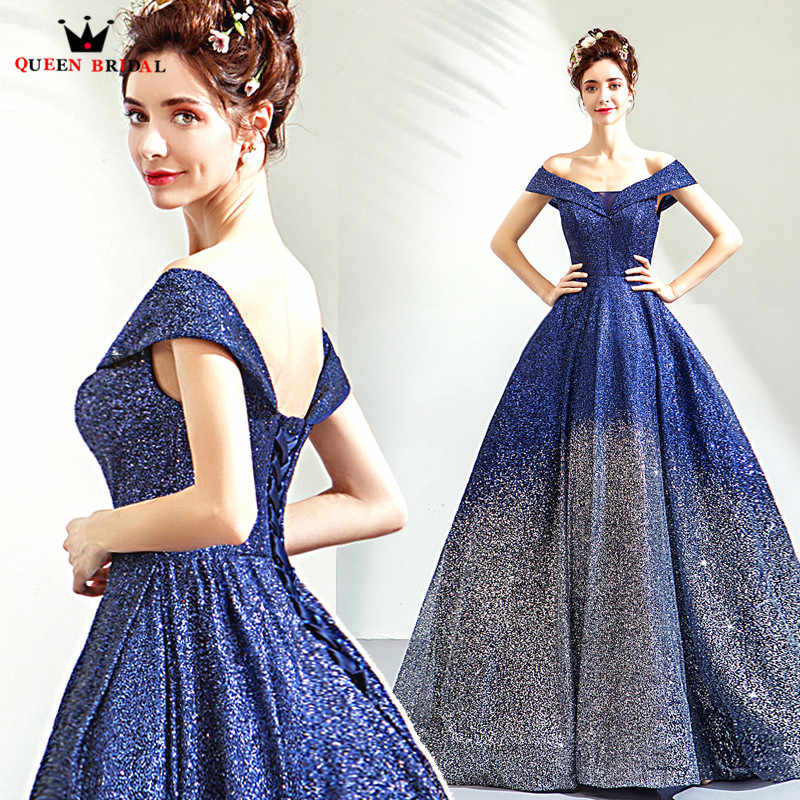 Navy Blue Ball Gown Cap Sleeve Sequin Tulle Beaded Luxury Evening Dresses  2018 New Fashion Evening d382eaf1c2e2