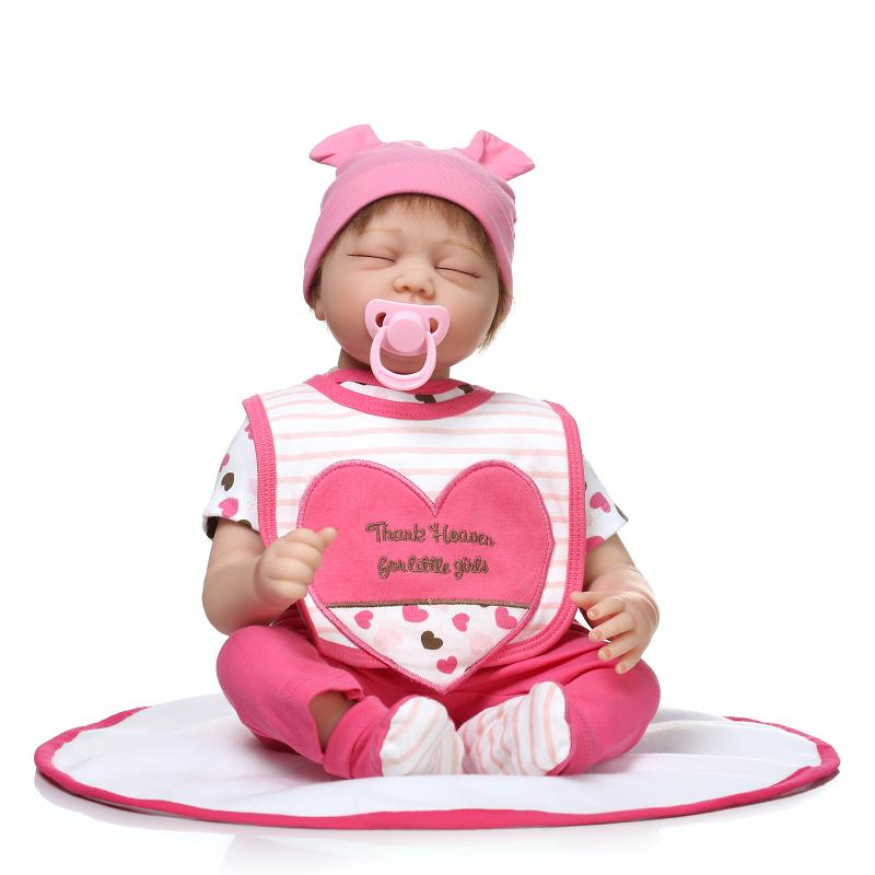 22inch Silicone Reborn Doll Vinyl Real Gentle Touch Reborn Newborn Cotton Body Baby Doll Kids 55CM Juguetes For Bouquets new fashion design reborn toddler doll rooted hair soft silicone vinyl real gentle touch 28inches fashion gift for birthday