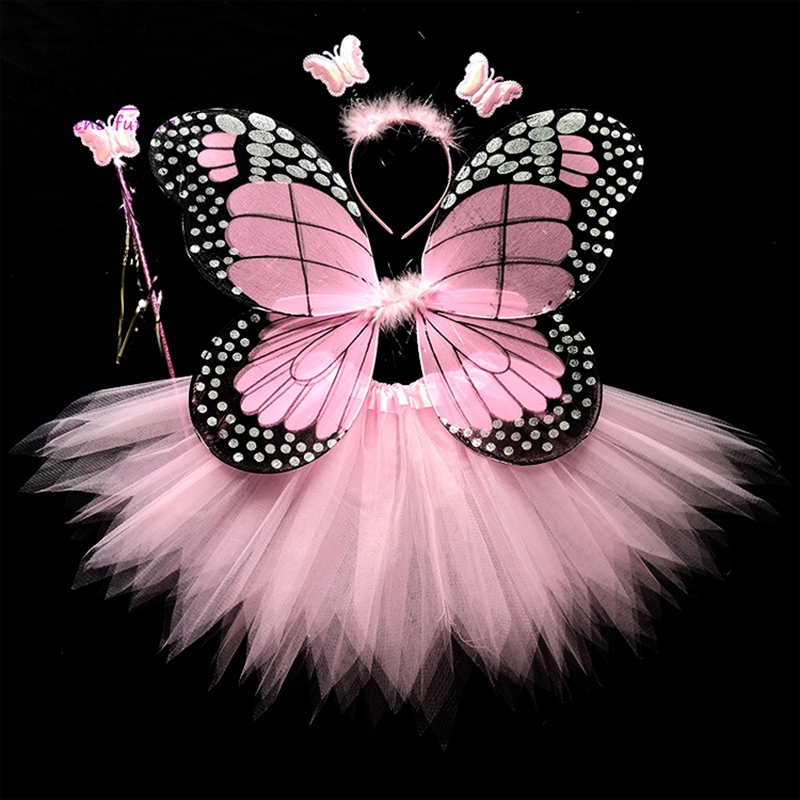 4Pcs Hot Sale Halloween Cosplay Fairy Angel Wings Insect Theme Costume For Kids Girls Butterfly Wings Costume Performance Dress