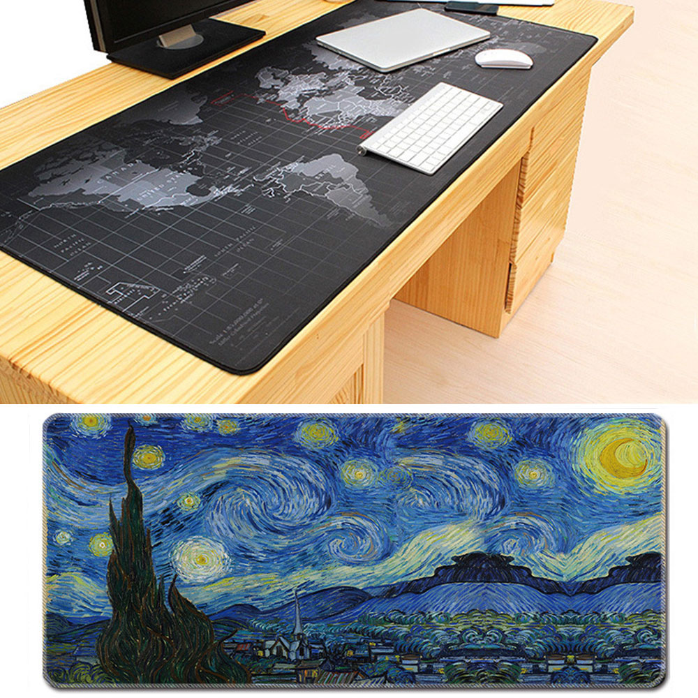 Oversized Mouse Pad World Map Gaming Mousepad Anti-slip Natural Rubber Large Size Pad for Mouse Mat with Locking Edge hexgears large size led gaming mouse pad 780 5 355 mm knitted edge professional rubber bases 7 color usb port gamer mouse pad