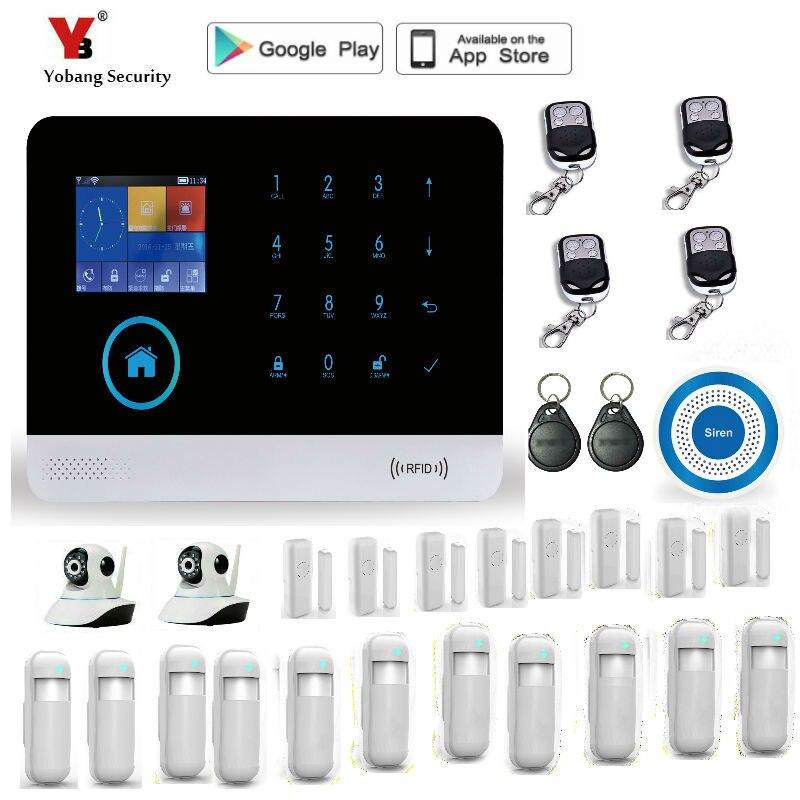 Yobang Security multi-language wifi Wireless GSM Alarm  Security Alarm System With PIR Motion Sensors yobang security wireless gsm