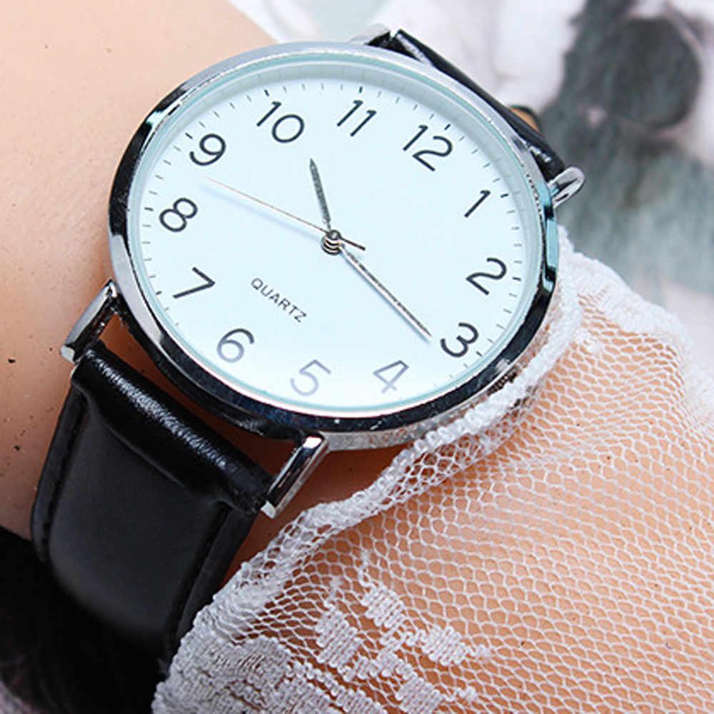 Saatleri2020 Unisex Reloj de pulsera de cuarzo de cuero Simple de moda de negocios relojes para hombre marca superior de lujo mejor regalo Masculino Reloj @ 4