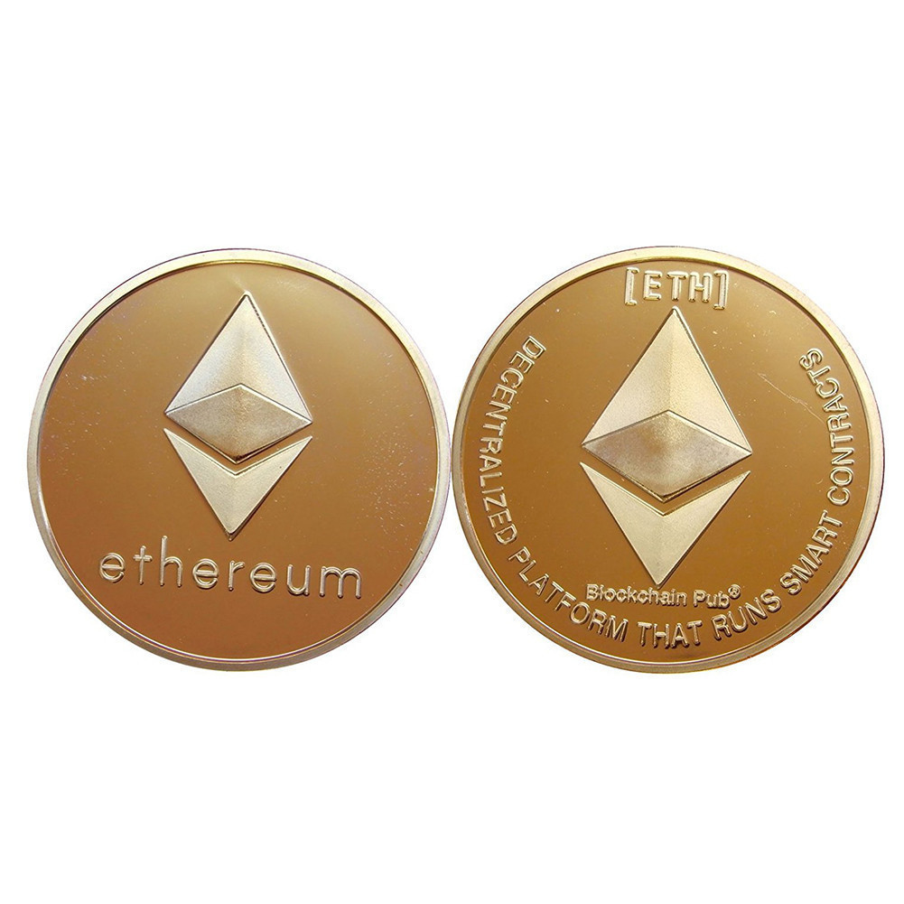 shop with crypto buy Gold Plated Ethereum Physical Coin pay with bitcoin