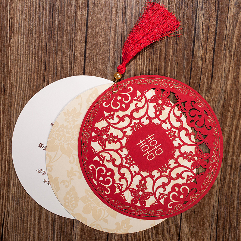 Red Chinese Style Tassels Bride And Groom Wedding Invitation Cards Original Style Marriage Supplies Party Invitations Card
