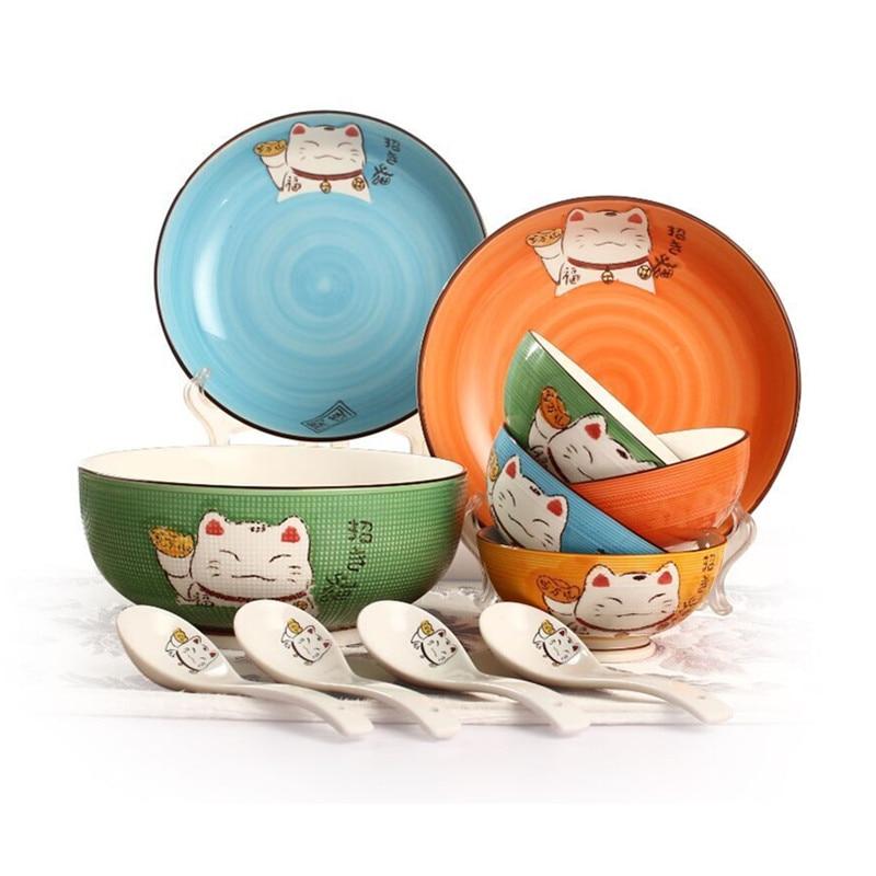 11pcs Cartoon Cutlery Set Porcelain Dinnerware Sets Tableware Japanese  Creative(China)