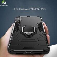 Keajor Case For Huawei P30 Pro Luxury Metal Ring Bracket Cover Shockproof Armor Silicone Phone Funda