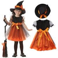 2018 Halloween Kids Girls Witch Pumpkin Dress Hat Lace Fancy Dress Cosplay Costume Clothing