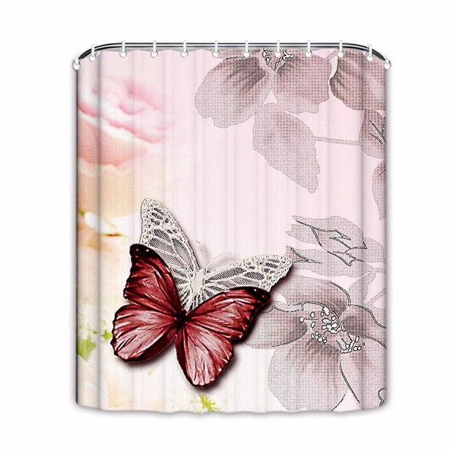 Big Flower Shower Curtains Butterfly Bathroom Curtain Waterproof Fabric Floral For BathroomHome Decor