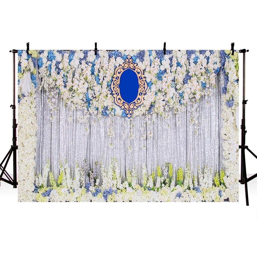 Us 1113 40 Offdigital Dicetak Putih Biru Kuning Bunga Pesta Pernikahan Photo Booth Latar Belakang Bunga Perak Tirai Fotografi Latar Belakang In