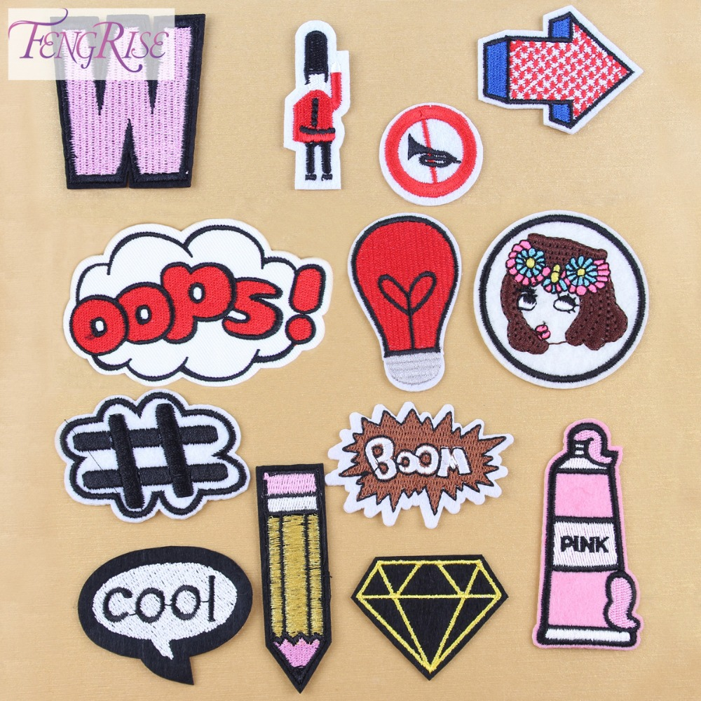 FENGRISE 13 Pieces Embroidered Cartoon Iron On Patch Badges For Clothes Applique DIY Opps Patches Sewing Fabric Accessaries