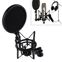 Microphone Mic Professional Shock Mount With Pop Shield Filter Screen Adjustment And Precise Positioning Mic