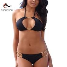 Tengweng2016 New Women Sexy Cute Halter Black Bikini Set Chain Decorative Padded Swimsuit Low Waist Swimwear