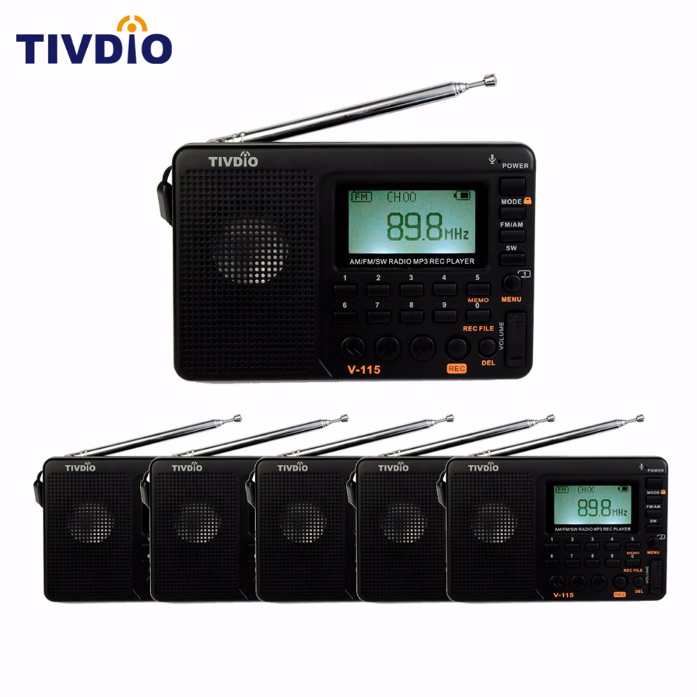6PCS TIVDIO V-115 FM/AM/SW Radio World Band Receiver MP3 Player REC Recorder With Sleep Timer/Automatic Search/Store FM Radio