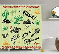 Popular Hispanic Objects with Fiesta Taco Guitar Cactus Plant Nachos Print, Fabric Bathroom Decor Set with Hooks
