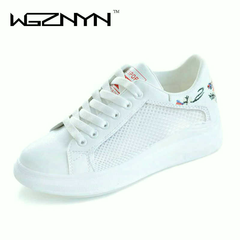 WGZNYN Women Casual Shoes Summer 2018 Spring new Women Shoes Fashion Embroidered Breathable Hollow Lace-Up Women Sneakers W004