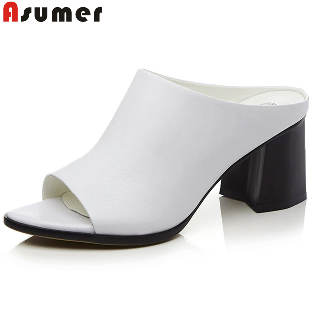 цена ASUMER white black fashion summer shoes woman peep toe sandals women genuine leather high heels shoes thick heel 2018 new
