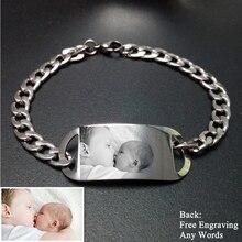 Palabras de Fotos personalizado Grabado Pulsera Tag Nombre Personalizado Pulsera de Acero Inoxidable Para Los Amantes de La Familia Amigo Niñas Dropshipping