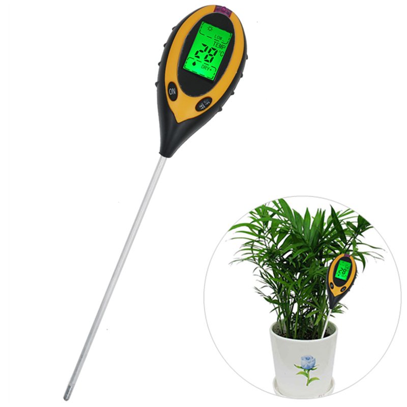 Professional Soil PH Meter 4 In1 LCD Temperature Solar Moisture PH Garden Soil Tester LCD Display 30% off lcd display 4 in1 plant flowers soil survey instrument ph meter temperature moisture sunlight tester for agriculture