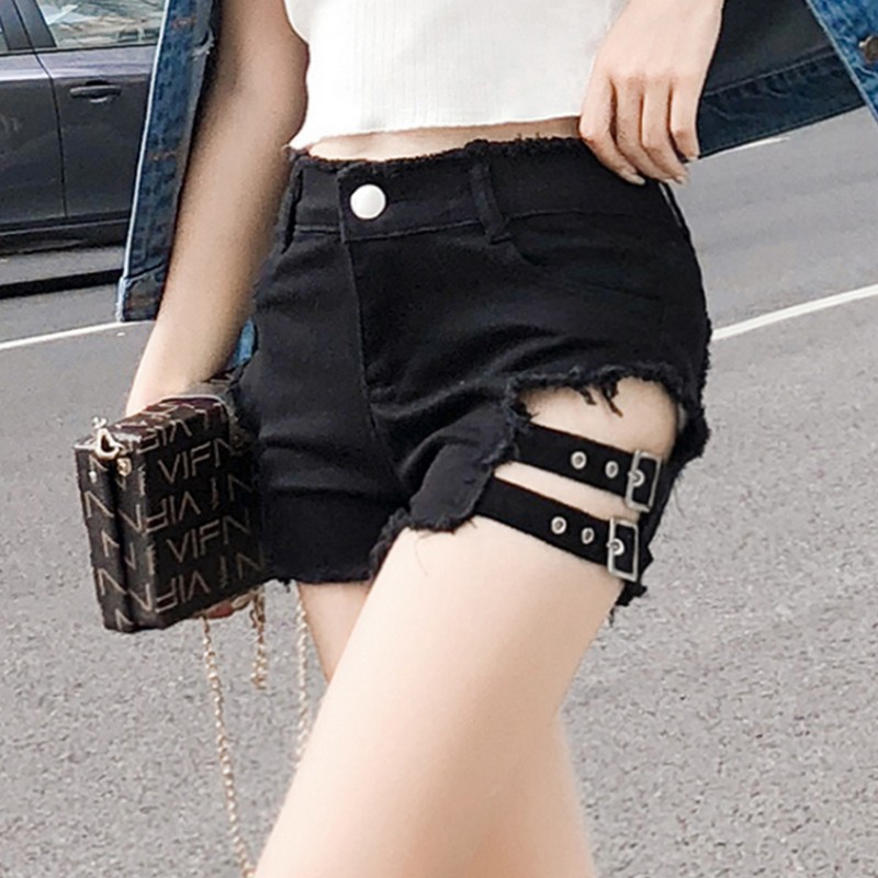 EXOTAO Spring Summer Shorts Women High Waist Denim Shorts Hollow Hole Tight Sexy Jean Shorts Women Black Blue image