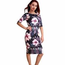 Women Dress Elegant Floral Print Work Business Casual Party Summer Sheath Vestidos 106-12