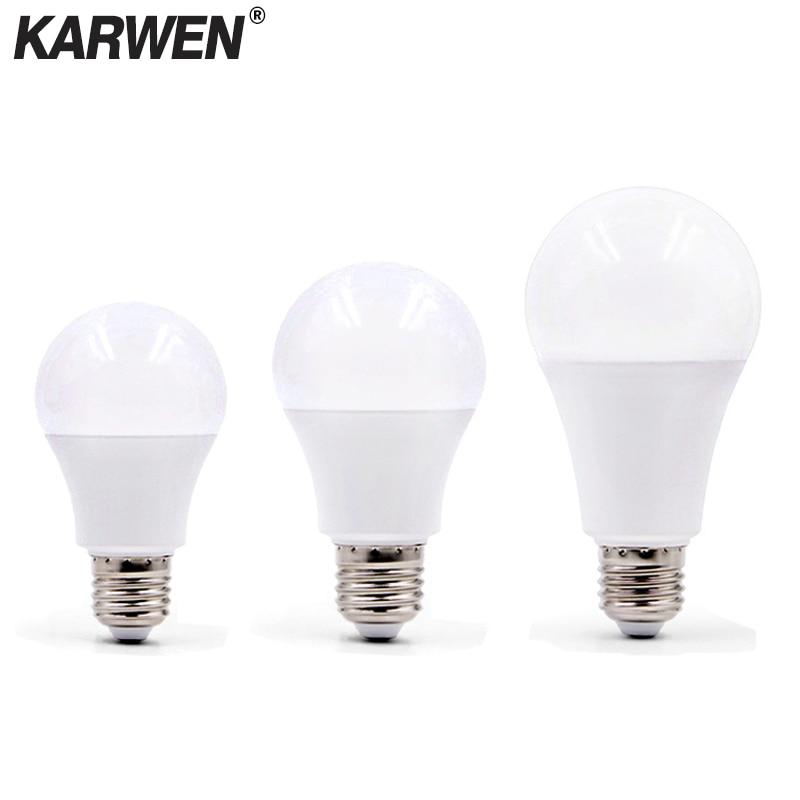 KARWEN E27 LED Lamp AC 220V 230V 240V LED Bulb 3W 5W 7W 9W 12W 15W 18W High Brightness Spotlight Table Lamp Livingroom Light