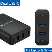 90W Dual USB Type C Travel Charger Adapter with USB-C PD For Macbook XiaoMi MateBook Dell XPS iPhone XS and most Type-c devices
