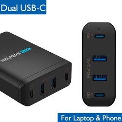 Doble tipo-C de adaptador de cargador de viaje con 2 USB-C PD & 2 USB 5 V 2.4A Compatible con con la mayoría de USB-C portátil y teléfono Mac Xps