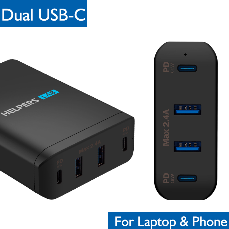 Dual Type C PD Travel Charger Adapter with 2 USB C PD & 2 USB 5V 2.4A Compatible with Most USB C Laptop & Phone Like Mac Xps