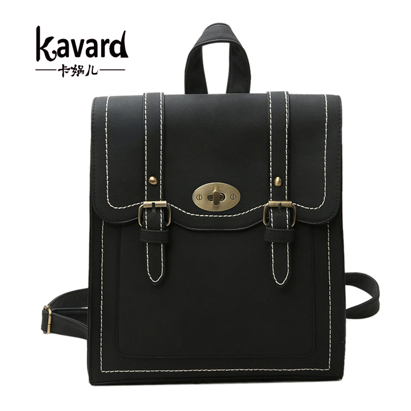 Vintage Women Backpack Gril School Bags For Teenagers High Quality Retro Black Pu Leather Lady Backpacks Double Belts Lock Bag