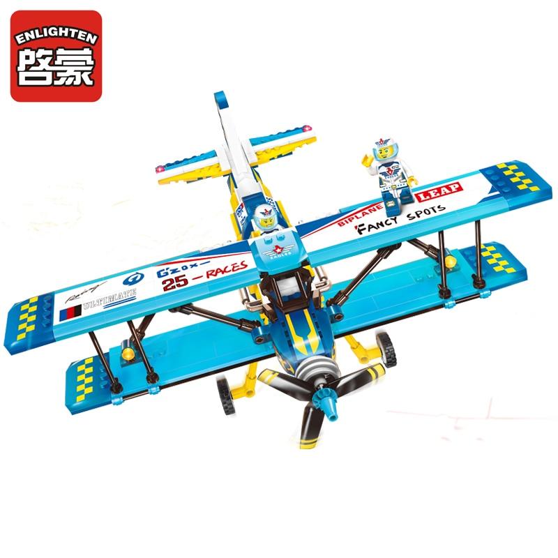 ENLIGHTEN City Izobraževalne gradbene bloke Igrače za otroke Otroška darila Vojska Vojska Letalo Biplane Propeller Združljive Legoe