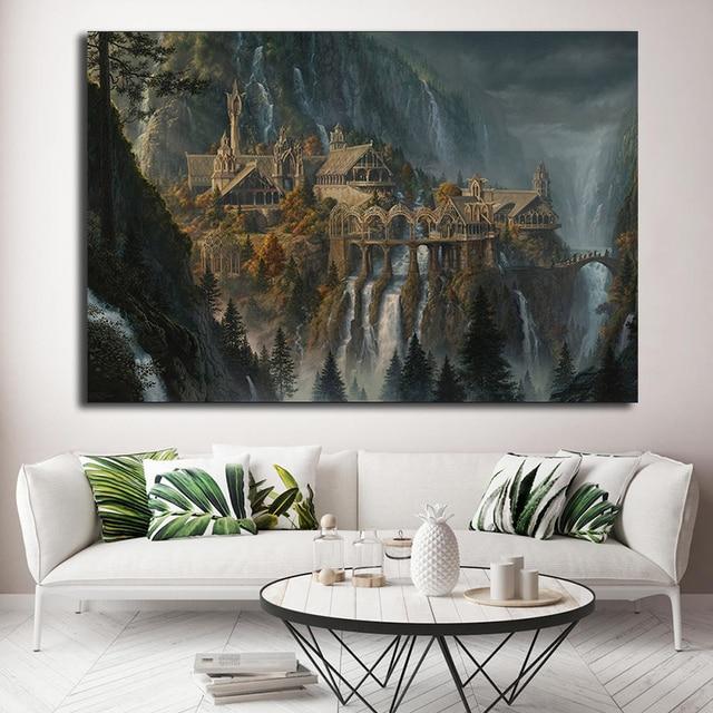 Lotr Rivendell Властелин колец плакаты Хоббит HD настенный принт книги по искусству масла живопись, декоративная картина современные украшения дома