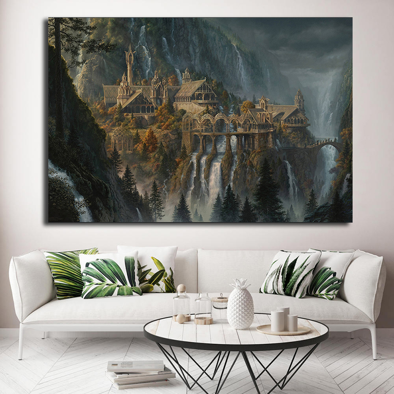Lotr Rivendell Lord Of The Rings Posters Hobbit HD Canvas Prints Wall Art Oil Painting Decorative Picture Modern Home Decoration image