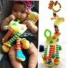 Plush Infant Baby Development Soft Giraffe Animal Handbells Rattles Handle Toys Hot Selling WIth Teether Baby