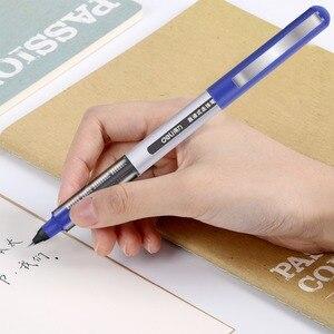 Image 4 - Deli 3 adet lot doğrudan sıvı tükenmez Tungsten karbür boncuk kalem öğrenci siyah kalem 0.5mm jel kalem S656