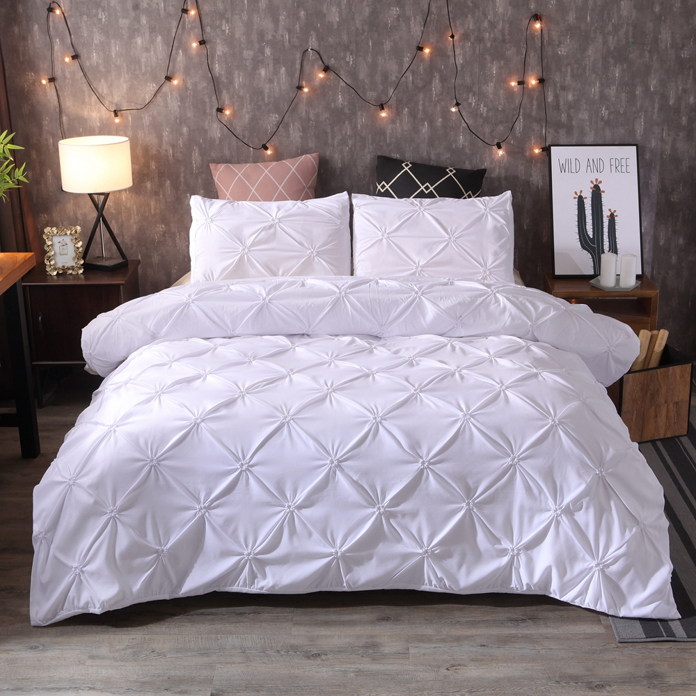 BEST.WENSD Luxury Solid Comfortable Quilt Cover Adult Bed Bedding Linens White/Gray Bed Cover <font><b>Pillowcase</b></font> US Bed Duvet Cover Set image