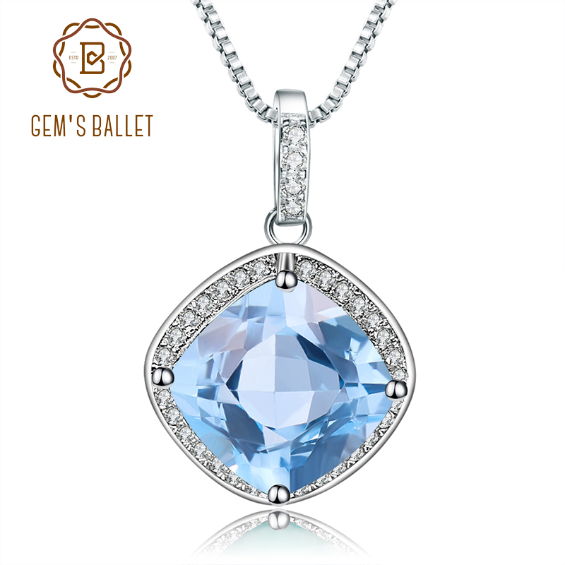 GEM'S BALLET 925 Sterling Silver Birthstone Fine Jewelry 6.29Ct Natural Sky Blue Topaz Gemstone Pendant Necklace for Women-in Pendants from Jewelry & Accessories    1