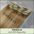 """Venta al por mayor 15 """" 20 """" 22 """" mujeres de Remy pelo humano recto clip en extensiones de cabello 7 unids 75 g # 613"""