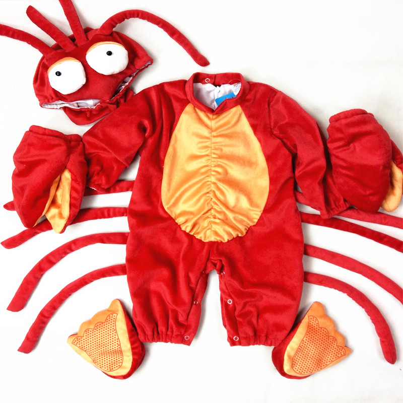 baby lobster costume funny animal costumes funny cosplay anime party clothes birthday clothing set brand infants costume series animal clothing set lion monster owl cow clasp elephant kangroo baby cosplay cute free shipping