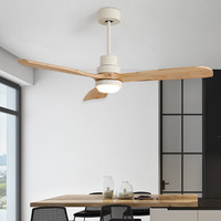 Nordic Retro Loft Dinning Room Led Ceiling Fan Light Modern Bedroom Living Room Restaurant Coffee Shop Solid Wood Fan Lamp